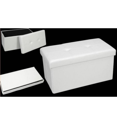 Baul plegable polipiel blanco