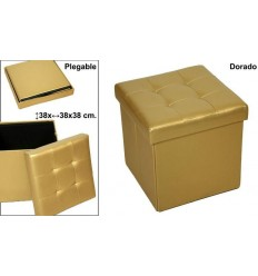 Puff Plegable Polipiel Oro