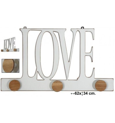 Perchero Pared Madera Love